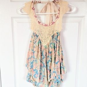 Free People NWT Ocean Floral Lace Halter Top